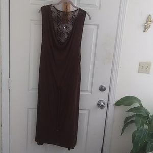 Avon Sleeveless Drawstring Dress with Lace Yoke